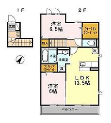 神奈川県横浜市都筑区荏田東1丁目の賃貸アパートの間取り