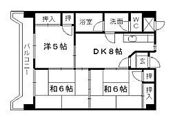 福岡県北九州市小倉北区片野5丁目の賃貸マンションの間取り