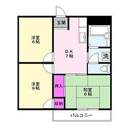 サニーレジデンスA[2階]の間取り