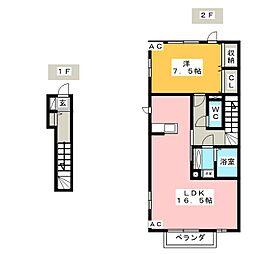愛知県岡崎市本宿町字下トコサフ丁目の賃貸アパートの間取り