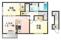 兵庫県神戸市西区平野町慶明の賃貸アパートの間取り