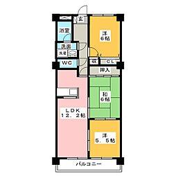 パストラル印場[3階]の間取り