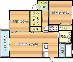 シャーメゾン茶屋の原I A棟[2階]の間取り