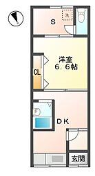 滋賀県東近江市青葉町の賃貸アパートの間取り