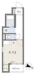 CIELO渡辺通 2階ワンルームの間取り