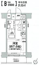 クラリッサ横浜フロード 4階ワンルームの間取り