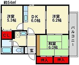 フラワーポテト正弥1[2階]の間取り