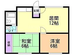 第2博栄ハイツ 2階2LDKの間取り