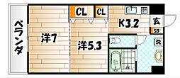 ウィングス片野II[5階]の間取り
