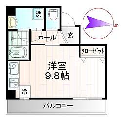 レクシズ浅草本所 3階ワンルームの間取り
