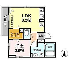 小田急小田原線 相武台前駅 徒歩6分の賃貸アパート 2階1LDKの間取り