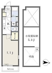 JR東北本線 土呂駅 徒歩9分の賃貸アパート 2階1Kの間取り