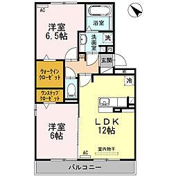 愛知県安城市安城町天草の賃貸アパートの間取り