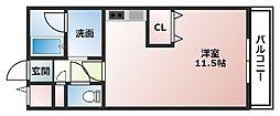 フランドール22 4階1Kの間取り