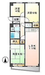 愛知県名古屋市北区大曽根2丁目の賃貸マンションの間取り