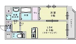 Osaka Metro御堂筋線 江坂駅 徒歩13分の賃貸マンション 3階1LDKの間取り