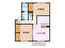 三重県鈴鹿市稲生塩屋1丁目の賃貸アパートの間取り