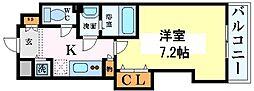 Luxe本町 4階1Kの間取り