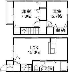 [タウンハウス] 岡山県岡山市東区可知2丁目 の賃貸【/】の間取り