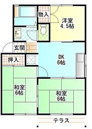 サンハイム早川 1階3DKの間取り