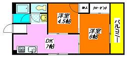 グローリィハイツ・八戸ノ里 54号室[4階]の間取り