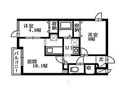 北海道札幌市清田区北野四条2丁目の賃貸アパートの間取り