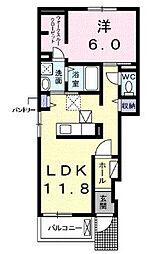 JR山陽本線 備後赤坂駅 4kmの賃貸アパート 1階1LDKの間取り