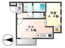 MOVE六番町WEST[2階]の間取り