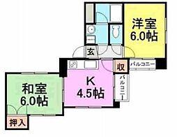 メイプル武庫之荘[304号室]の間取り