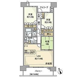 神奈川県藤沢市大庭の賃貸マンションの間取り