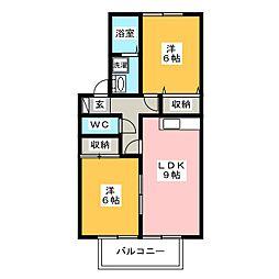 エクレールB[2階]の間取り