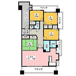 愛知県名古屋市瑞穂区桃園町の賃貸マンションの間取り