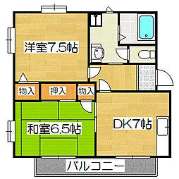 京都府京都市山科区小山中ノ川町の賃貸アパートの間取り