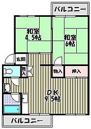 狭山遊園ハイツ6号棟[1階]の間取り