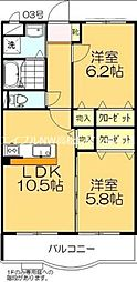 香川県高松市国分寺町福家の賃貸マンションの間取り