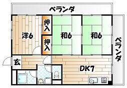 高峰グリーンマンション[2階]の間取り