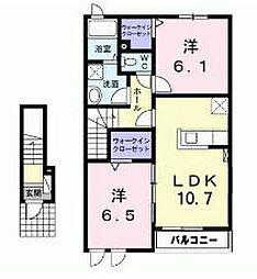茨城県取手市戸頭の賃貸アパートの間取り