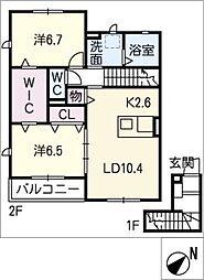 仮)JA賃貸港区十一屋二丁目A[2階]の間取り