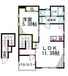 西武新宿線 上石神井駅 徒歩11分の賃貸アパート 2階1LDKの間取り
