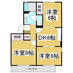 ハイカムールA&A A棟[1階]の間取り