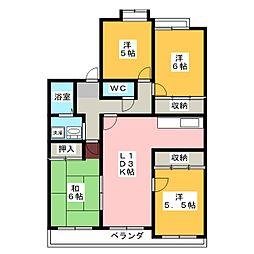 リーフコートII[3階]の間取り