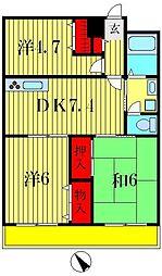 清晃マンション[4階]の間取り