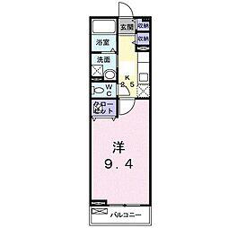 ボヌール レイワA(アパート) 2階1Kの間取り