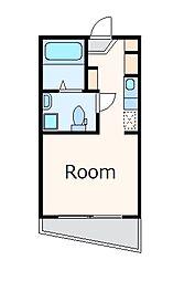 JR中央線 中野駅 徒歩5分の賃貸マンション 2階ワンルームの間取り