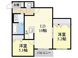 北海道札幌市北区新琴似8条4丁目の賃貸マンションの間取り