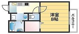 メゾン阪奈 1階1Kの間取り