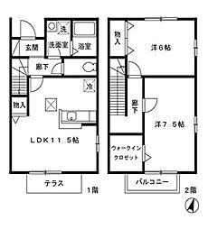 [タウンハウス] 東京都八王子市七国2丁目 の賃貸【/】の間取り