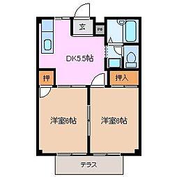 三重県鈴鹿市岡田1丁目の賃貸アパートの間取り