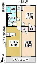 愛知県名古屋市瑞穂区高田町2丁目の賃貸アパートの間取り