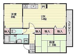 ウィルモア大町 B棟[2階]の間取り